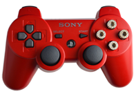 PS3 Red with Chrome Bullet Buttons