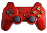 PS3 Red with Gold Bullet Buttons