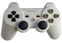PS3 White with Chrome Bullet Buttons