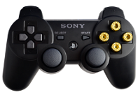 PS3 Black with Gold Bullet Buttons
