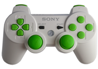 PS3 White with Lime Buttons