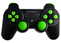 PS3 Black with Lime Buttons