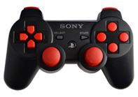 PS3 Black with Red Buttons