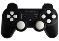 PS3 Black with White Buttons