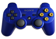 PS3 Blue with Gold Bullet Buttons