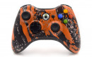 Xbox 360 Orange Splatter Custom Modded Controller Small