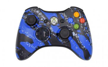 Xbox 360 Blue Splatter Custom Modded Controller