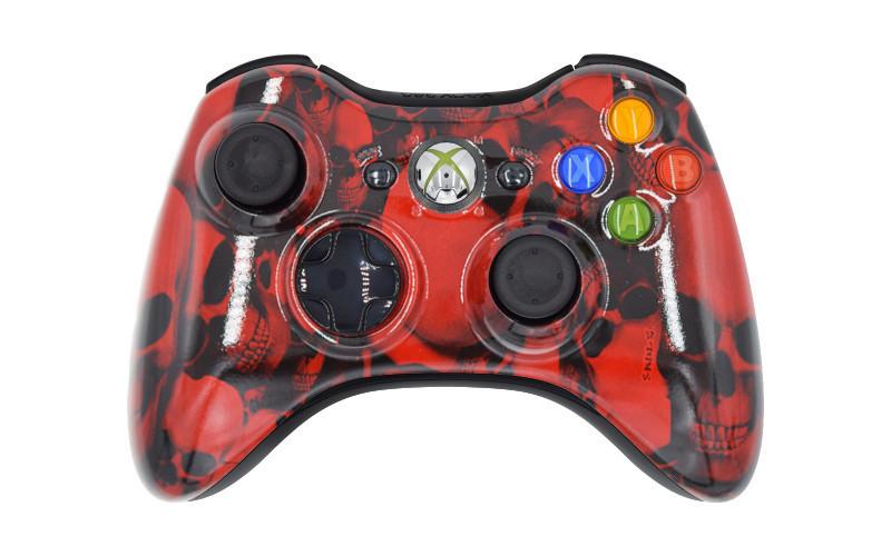 Xbox 360 Red Skulls Custom Modded Controller
