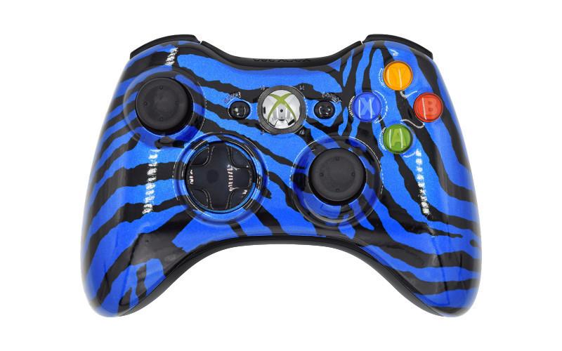 Xbox 360 Blue Zebra Custom Modded Controller