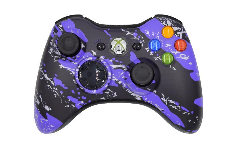 Xbox 360 Purple Splatter Custom Moddded Controller