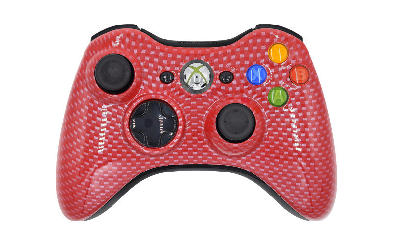 Xbox 360 Red Carbon Fiber Custom Modded Controller