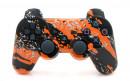 PS3 Orange Splatter Custom Modded Controller Small