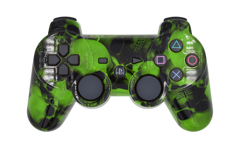 PS3 Green Skulls Custom Modded Controller