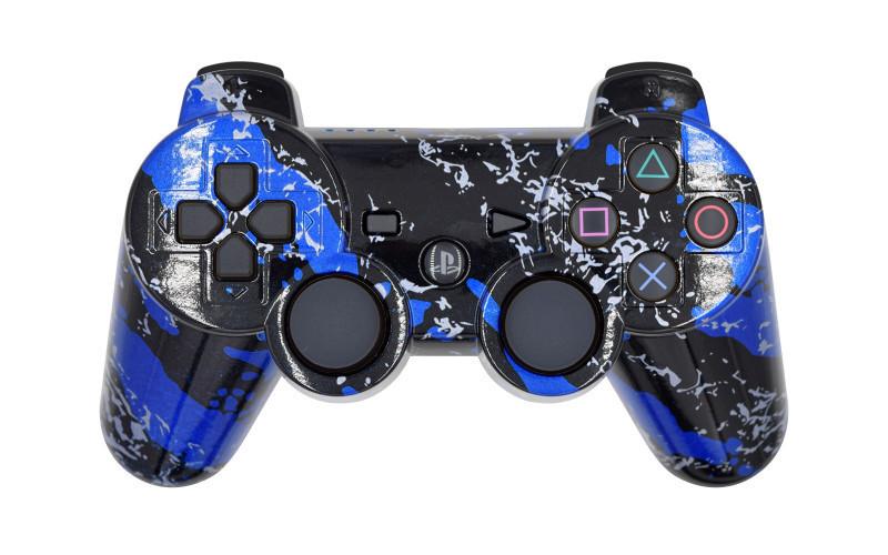 PS3 Blue Splatter Custom Modded Controller