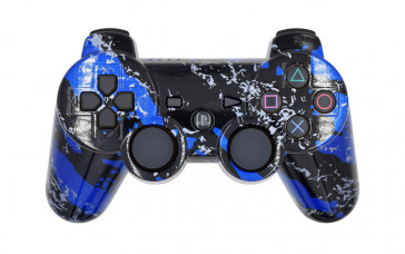 PS3 Blue Splatter Custom Modded Controller
