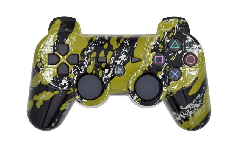 PS3 Green Splatter Custom Modded Controller