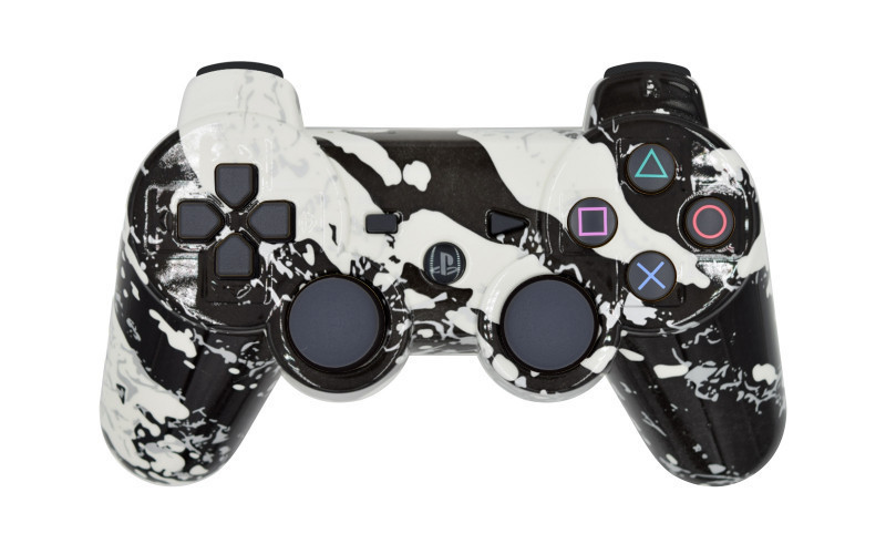 PS3 White Splatter Custom Modded Controller