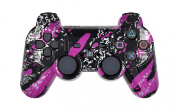 PS3 Purple Splatter Custom Modded Controller