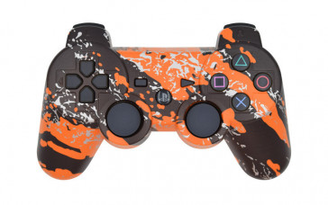 PS3 Orange Splatter Custom Modded Controller