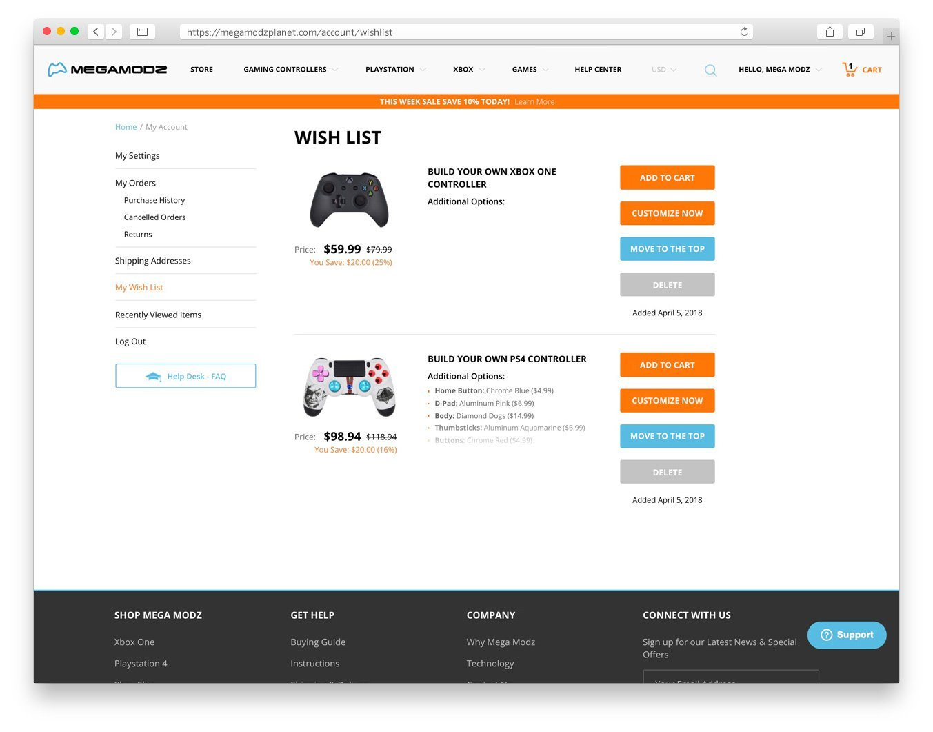 Desktop Wish List Screenshot for Custom Controllers Article