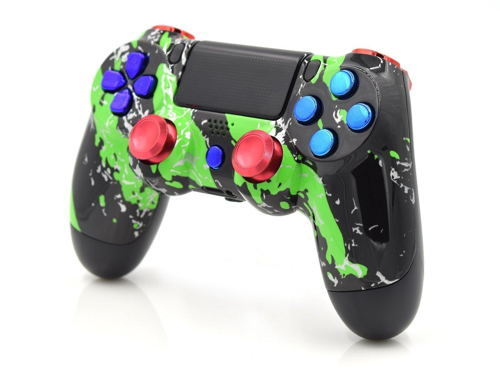 Custom Green Splatter PS4 Controller