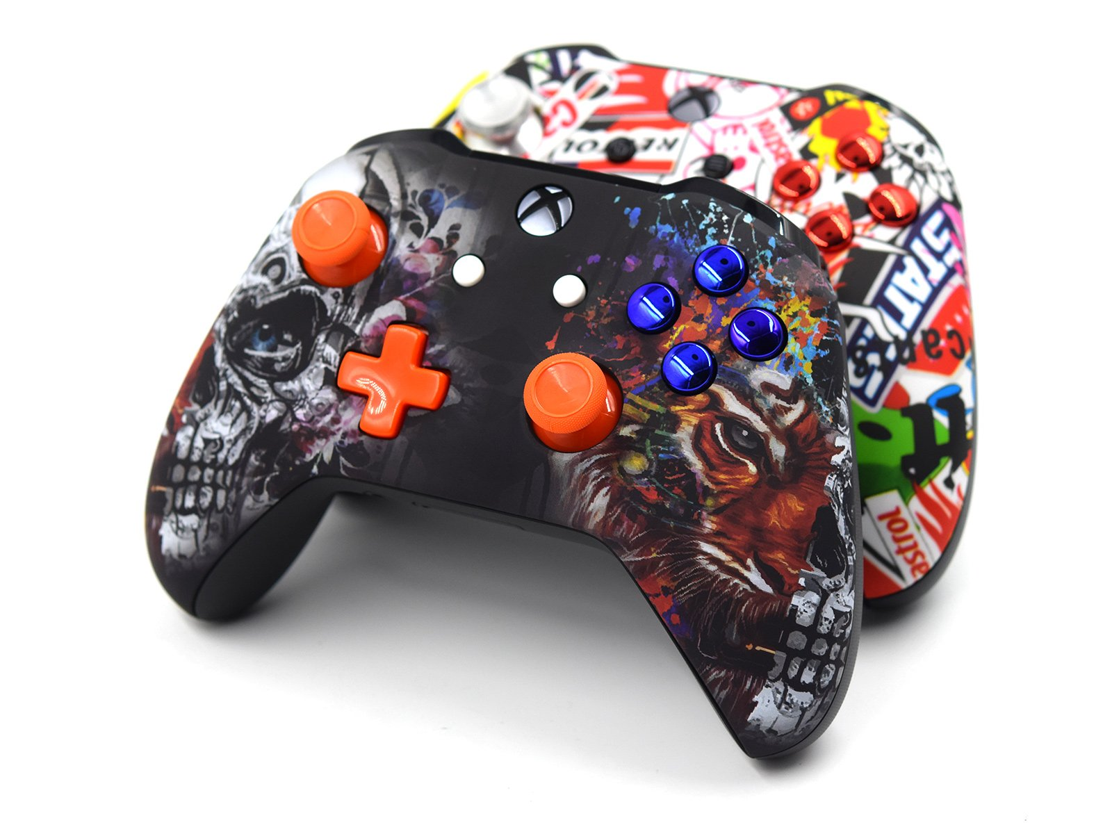 2 Custom Xbox One  Controllers - Tiger Skull