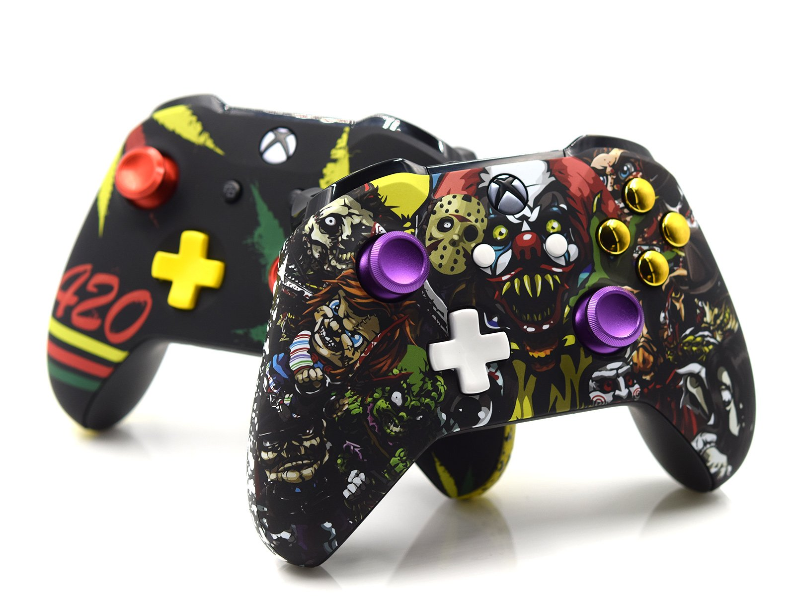 2 Custom Xbox One S Controllers - Scary Party